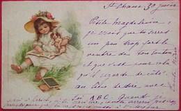 Cpa RAPHAEL TUCK , PETITE FILLE LIVRE D ALPHABET CHAPEAU DE PAILLE PETIT CHIEN , CUTE GIRL READING WITH DOG   Early Pc - Dessins D'enfants