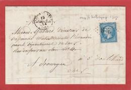 LAC - 1864 - Aubigny Sur Nere (Cher) GC209 CAD15 Sur N°29A - Postmark Collection (Covers)