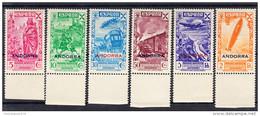 ANDORRA ESPAÑOLA 1943..EDIFIL BENEFICENCIA  Nº 7/12  NUEVOS  SIN  CHARNELA  SES274GRANDE