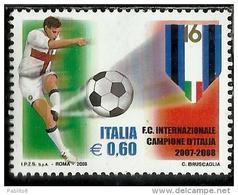 ITALIA REPUBBLICA ITALY REPUBLIC CAMPIONATO ITALIANO DI CALCIO 2007 2008 LO SCUDETTO ALL'INTER € 0,60 MNH - 6. 1946-.. Republic