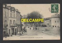 DF /12 AVEYRON / VILLEFRANCHE DE ROUERGUE / ENTRÉE DE LA VILLE / ANIMÉE / CIRCULÉE EN 1908 - Villefranche De Rouergue