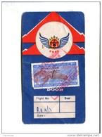 CARTE D EMBARQUEMENT DE LA ROYAL NEPAL AIRLINE TIMBRE 15 RS(INTERNATIONAL AIRPORTS AUTHORITY OF INDIA) - Titres De Transport