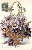 CPA Fantaisie - Corbeille Pansies Pensée Fleur Details Dorés D'or - Carte Gaufrée - Flowers