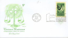 Fdc International Court Of Justice, United Nations, New York, Feb 13 1961 - Cartas