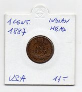 Stati Uniti - 1887 - 1 Centesimo - Indian Head - (FDC4619) - Stati Uniti