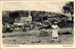 Cp Langensoultzbach Langensulzbach Bas Rhin, Gesamtansicht, Feldarbeiterin - Otros Municipios