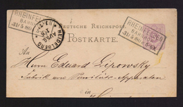 DR GS/PK Ausschnitt Mit R3 RHEINFELDEN BAHNHOF > HEIDELBERG 1880 - Deutschland