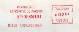 """Pépinière, Jardin, Pas De Calais, Audruicq, """"Desmidt"""" - EMA Havas MG - Enveloppe Entière  (S062) - A. Plantes Vertes"""