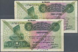 Lebanon / Libanon: Set Of 3 Notes Syria 1 Livre 1939 With Black Overprint LEBANON At Upper Border, 2 Consecutive Notes W - Lebanon