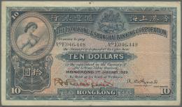 Hong Kong: 10 Dollars 1929 P. 174b, Vertical And Horizontal Folds, 2 Small Holes But Still Crispness In Paper And Origin - Hong Kong