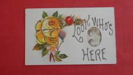 Look Who's Here  Small Real Photo Insert   Flower Has Glitter  > Ref 2579 - Etats-Unis