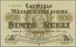 "Latvia /Lettland: 100 Rubli 1919 P. 7e, Series ""U"", Sign. Kalnings, Light Dints At Left And Right Border, Condition: AUN - Latvia"