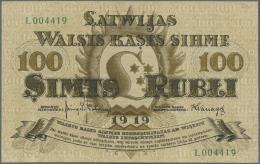 "Latvia /Lettland: 100 Rubli 1919 P. 7e, Series ""L"", Sign. Kalnings, Light Center Bend, Light Corner Bend At Upper Right, - Latvia"