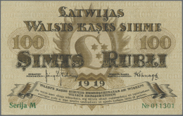 "Latvia /Lettland: 100 Rubli 1919 P. 7c, Series ""M"", Sign. Kalnings, Light Dints At Left And Right Border, Unfolded, Cris - Latvia"