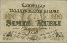 "Latvia /Lettland: 100 Rubli 1919 P. 7b, Series ""K"", Sign. Purins, Light Dints At Left Border, Condition: AUNC. - Latvia"