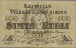 "Latvia /Lettland: 100 Rubli 1919 P. 7b, Series ""E"", Sign. Purins, Crisp Original Paper, Condition: UNC. - Latvia"