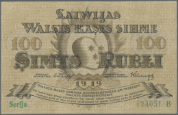 "Latvia /Lettland: 100 Rublis 1919 P. 7a, Series ""B"", Sign. Erhards, Light Center Fold And Corner Bends, Strong Crisp Pap - Latvia"