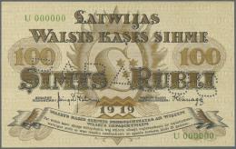 "Latvia /Lettland: 100 Rubli 1919 Specimen P. 7fs, Series ""U"", Zero Serial Numbers, Front And Back Printed Seperatly On B - Latvia"