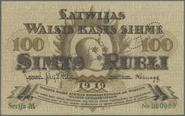 "Latvia /Lettland: 100 Rubli 1919 Specimen P. 7es, Series ""M"", Zero Serial Numbers, Sign. Kalnings, PARAUGS Perforation, - Latvia"