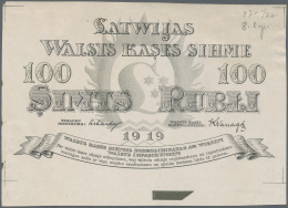 Latvia /Lettland: Rare Uniface Front PROOF Print Of 100 Rubli 1919 P. 7p, W/o Serial, Sign. Erhards, Black & Dark Gr - Latvia