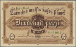 """Latvia /Lettland: 25 Rubli 1919 P. 5h, Series """"K"""", Sign. Kalnings, Light Dint At Upper Right, Light Bend At Right Border - Latvia"""