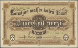 Latvia /Lettland: Rare Specimen Proof Print Of 25 Rubli 1919 P. 5hs, Front And Back Seperatly Printed, PARAUGS Perforati - Latvia