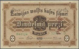 Latvia /Lettland: 25 Rubli 1919 SPECIMEN P. 5es, Series D, Regular Serial Number, 2 Vertical PARAUGS Overprints In Red C - Latvia