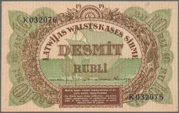 "Latvia /Lettland: 10 Rubli 1919 P. 4f, Series ""K"", Sign. Kalnings, In Crisp Original Condition: UNC. - Latvia"