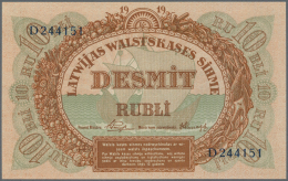 "Latvia /Lettland: 10 Rubli 1919 P. 4e, Series ""D"", Sign. Purins, In Crisp Original Condition: UNC. - Latvia"