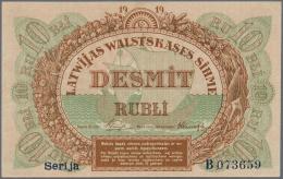 "Latvia /Lettland: 10 Rubli 1919 P. 4d, Series ""B"", Sign. Purins, Light Corner Bends At Upper And Lower Left Corner, Othe - Latvia"