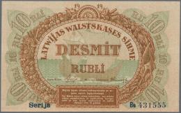 "Latvia /Lettland: 10 Rubli 1919 P. 4c, Series ""Bb"", Sign. Purins, Light Corner Dints, No Folds, Crisp Paper, Condition: - Latvia"