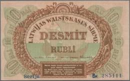 "Latvia /Lettland: 10 Rubli 1919 P. 4b, Series ""Bk"", Sign. Erhards, Very Light Center Fold, No Holes Or Tears, Crisp Orig - Latvia"