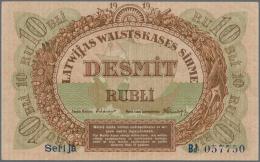 "Latvia /Lettland: 10 Rubli 1919 P. 4b, Series ""Bd"", Sign. Erhards, Radar Number ""057750"", Light Vertical Folds In Paper, - Latvia"