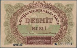 "Latvia /Lettland: 10 Rubli 1919 P. 4b, Series ""Ba"", Sign. Erhards, 2 Light Center Folds, One Light Horizontal Bend, Dint - Latvia"