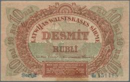 "Latvia /Lettland: 10 Rubli 1919 P. 4a, Series ""Bb"", Sign. Erhards, Light Horizontal And Vertical Bends, Corner Folds, No - Latvia"