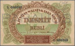 "Latvia /Lettland: Rare SPECIMEN Of 10 Rubli 1919 Series ""L"" P. 4fs, Only Light Corner Fold At Upper Left, Otherwise No H - Latvia"