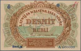 "Latvia /Lettland: Rare SPECIMEN Of 10 Rubli 1919 Series ""A"" P. 4ds, Never Folded Vertically Or Horizontally, Minor Corne - Latvia"
