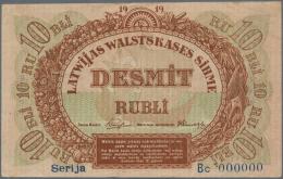 "Latvia /Lettland: Rare SPECIMEN Of 10 Rubli 1919 Series ""Bc"" P. 4b-c,s, Signature Purins, Zero Serial Numbers, Light Han - Latvia"