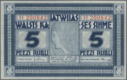 """Latvia /Lettland: 5 Rubli 1919 Series """"H"""", P. 3f, In Condition: UNC. - Latvia"""
