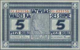 "Latvia /Lettland: 5 Rubli 1919 Series ""G"", P. 3f, Signature Kalnings, In Condition: UNC. - Latvia"