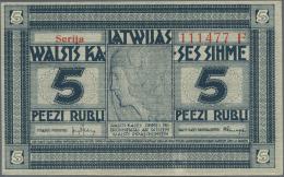 "Latvia /Lettland: 5 Rubli 1919 Series ""F"", P. 3f, Signature Kalnings, One Light Dint At Right, No Folds, Condition: AUNC - Latvia"