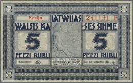 """Latvia /Lettland: 5 Rubli 1919 Series """"E"""", P. 3e, Signature Purins, In Condition: UNC. - Latvia"""