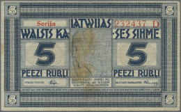 "Latvia /Lettland: 5 Rubli 1919 Series ""D"", P. 3d, Signature Purins, Watermark ""thin Horizontal Lines"", Used With Folds A - Latvia"