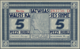 "Latvia /Lettland: 5 Rubli 1919 Series ""D"", P. 3c, Signature Erhards, Light Dint At Lower Right Corner, Unfolded, Conditi - Latvia"