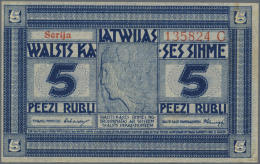 "Latvia /Lettland: 5 Rubli 1919 P. 3b, Series ""C"", Signature Erhards, Light Dints At Lower Right Corner, No Folds, No Hol - Latvia"