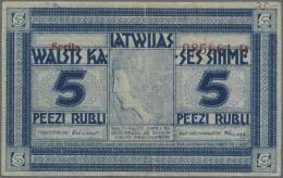 "Latvia /Lettland: 5 Rubli 1919 Series ""B"", P. 3b, Signature Erhards, With Error Printing, Shifted Serial Number, Rarely - Latvia"
