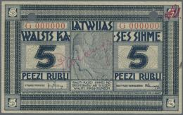 """Latvia /Lettland: Rare SPECIMEN Note 5 Rubli 1919 Series """"G"""", Zero Serial Number, Handwritten """"PARAGUS"""" Overprint In Cen - Latvia"""