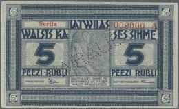 "Latvia /Lettland: Rare SPECIMEN Note 5 Rubli 1919 Series ""A"", Zero Serial Number, ""PARAGUS"" Perforation At Center, Signa - Latvia"