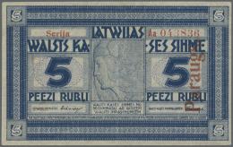 "Latvia /Lettland: Rare SPECIMEN Note 5 Rubli 1919 Series ""Aa"", Regular Serial Number, ""PARAGUS"" Overprint In Red At Righ - Latvia"