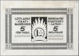 Latvia /Lettland: Large Size 250mm X 175mm Uniface Back Proof Print Of 5 Rubli 1919 P. 3p, Printed In Black On Unwaterma - Latvia